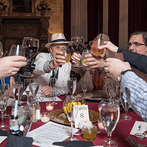 Boston Murder Mystery guests raise glasses